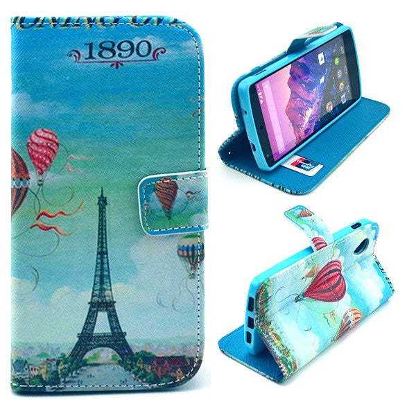 Bracevor Eiffel Design Wallet Leather Flip Case Cover for LG Google Nexus 5