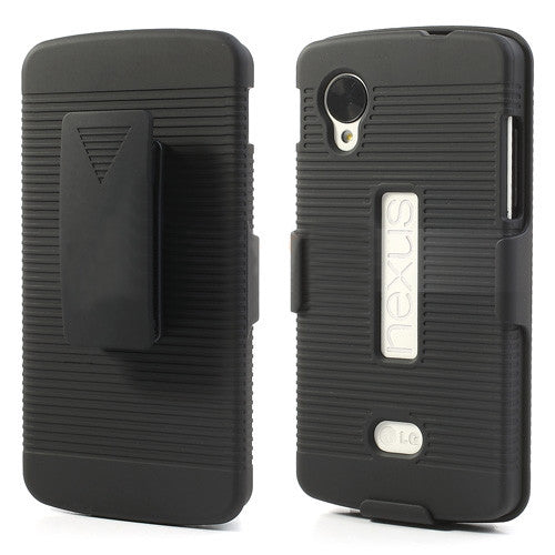 Bracevor Holster Combo with Kick Stand Hard Case for LG Nexus 5 - Black