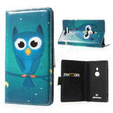 Bracevor Design Wallet Stand Leather Case for Nokia Lumia 925 - Green Owl