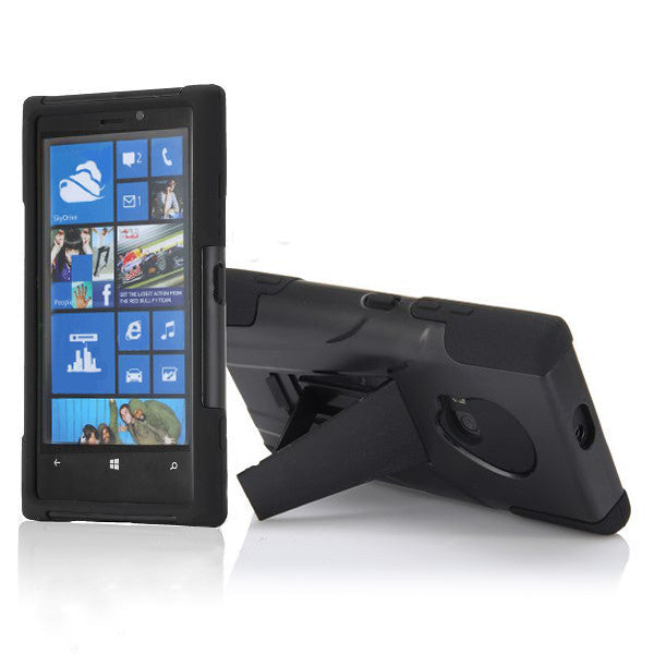 Bracevor 2 in 1 Silicone Cover and Hard Stand Case for Nokia Lumia 920 - Black