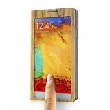 Touch Full Screen View Wood pattern Leather Stand Case for Samsung Galaxy Note 3 - Yellow