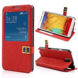 Window View Oracle grain Leather case for Samsung Galaxy Note 3 - Red