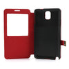 Window View Oracle grain Leather case for Samsung Galaxy Note 3 - Red4