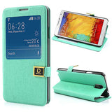 Window View Oracle grain Leather case for Samsung Galaxy Note 3 - Cyan