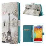 Eiffel Tower Design Wallet Leather Flip Case for Samsung Galaxy Note 3