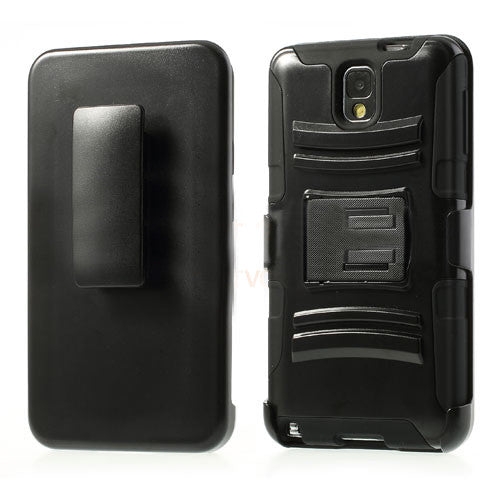 Bracevor 3 in 1 Hybrid  Armor Case with Belt clip holster for Samsung Galaxy Note 3 - Black