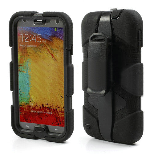 Bracevor 4 in 1 Armor Case with holster for Samsung Galaxy Note 3 - Black