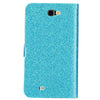 Bracevor Diamond studded Magnetic Flip Wallet Leather Case Cover for Samsung Galaxy Note 2 N7100 - Blue