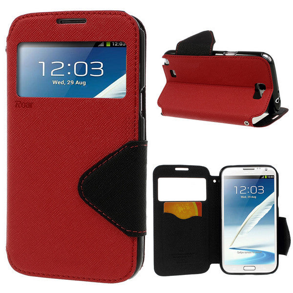 Roar Diary View Window Samsung Galaxy Note 2 N7100 Wallet Leather Case - Red