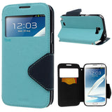 Roar Window View Samsung Galaxy Note 2 N7100 Wallet Leather Case - Blue
