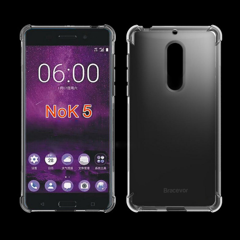 Nokia 5 Flexible Shockproof TPU Back Case Cover | Ultimate Edge Protection | Cushioned Edges | Anti Slip | Premium Design - Transparent
