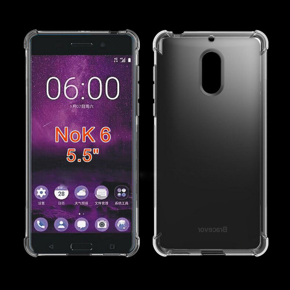 Nokia 6 Flexible Shockproof TPU Back Case Cover | Ultimate Edge Protection | Cushioned Edges | Anti Slip | Premium Design - Transparent