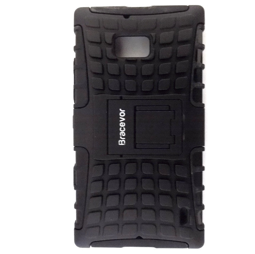 Bracevor Rugged Armor Hybrid Kickstand Case Cover for Nokia Lumia 929 930 - Black
