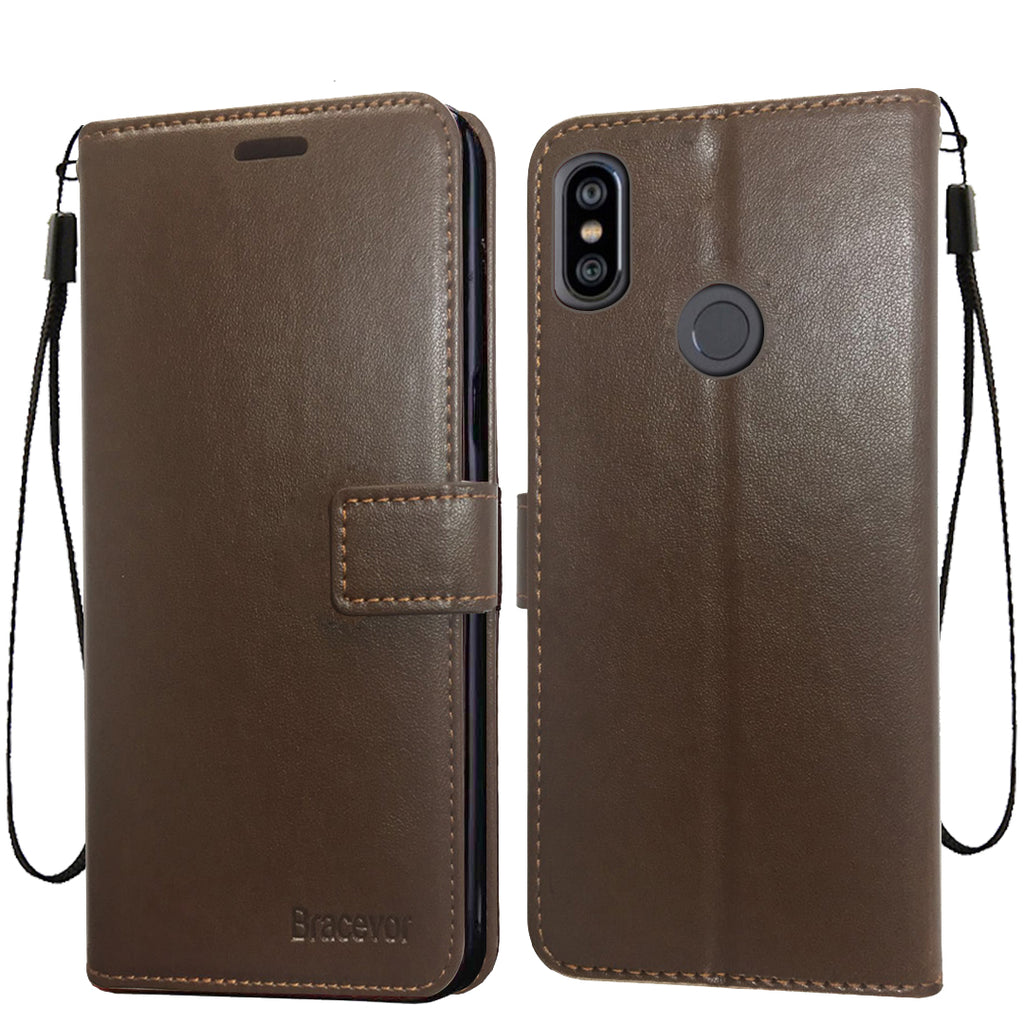 Bracevor Xiaomi Redmi Note 6 Pro Flip Cover Case | Premium Leather | Inner TPU | Foldable Stand | Wallet Card Slots - Executive Brown