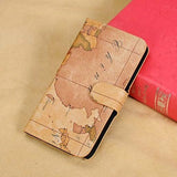 Artistic Map Pattern Leather Samsung Galaxy Note 3 Wallet Case - Dark Beige