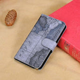 Artistic Grey Map Pattern Leather Samsung Galaxy Note 3 Wallet Case
