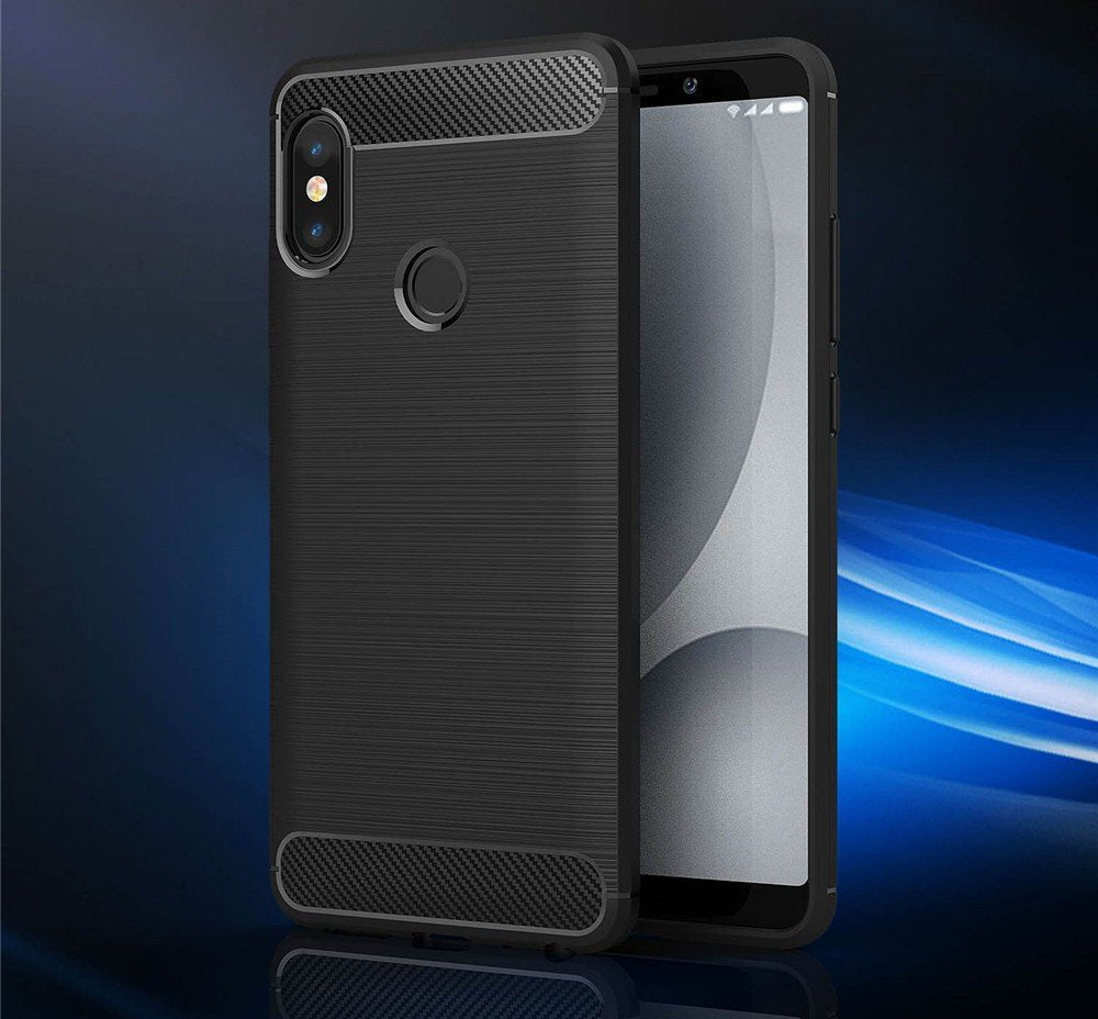 Bracevor Brushed Texture Flexible Shockproof TPU Back Case Cover for Xiaomi Redmi Note 5 Pro - Black