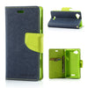 Mercury Goospery Fancy Diary Leather Case Cover for Sony Xperia L - Green/Dark Blue