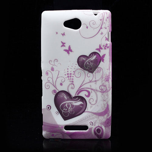 Bracevor Elegant Heart design hard back case cover for Sony Xperia C S39h