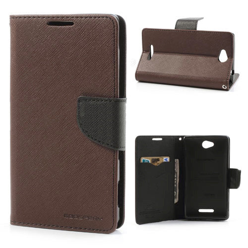 Mercury Goospery Fancy Diary Leather Case Cover for Sony Xperia C - Brown