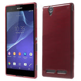 Elegant Brushed TPU Gel Back Case for Sony Xperia T2 Ultra (Red)