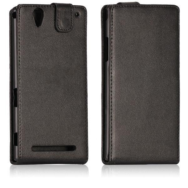 Bracevor Vertical Leather Flip Case Cover for Sony Xperia T2 Ultra - Black