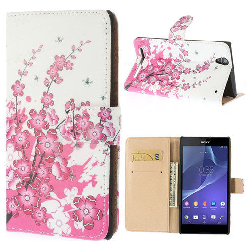 Bracevor Cherry Blossom Design Wallet Leather Flip Case Cover for Sony Xperia T2 Ultra
