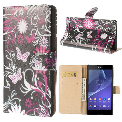 Bracevor Floral Design Wallet Leather Flip Case Cover for Sony Xperia T2 Ultra