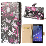 Floral Design Wallet Leather Flip Case for Sony Xperia T2 Ultra