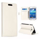 Stylish Leather Wallet Case for Samsung Galaxy Grand Duos - White