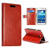 Stylish Leather Wallet Case for Samsung Galaxy Grand Duos - Brown