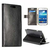 Stylish Leather Wallet Case for Samsung Galaxy Grand Duos - Black