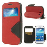 Roar Window View Samsung Galaxy Grand Duos Wallet Leather Case - Red