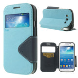 Roar Window View Samsung Galaxy Grand Duos Wallet Leather Case - Blue
