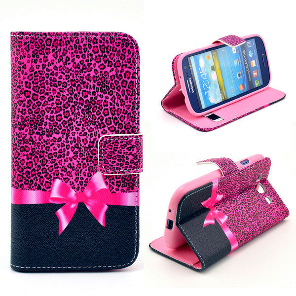 Bracevor Rose Bowknot Wallet Leather Flip Case for Samsung Galaxy S3 I9300