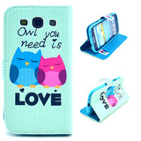Owl Love Design Wallet Leather Flip Case Cover for Samsung Galaxy S3 I9300