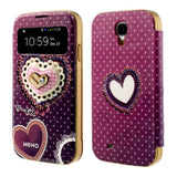 3D Heart Design PC Bumper Leather Flip Case Cover for Samsung Galaxy S4 I9500