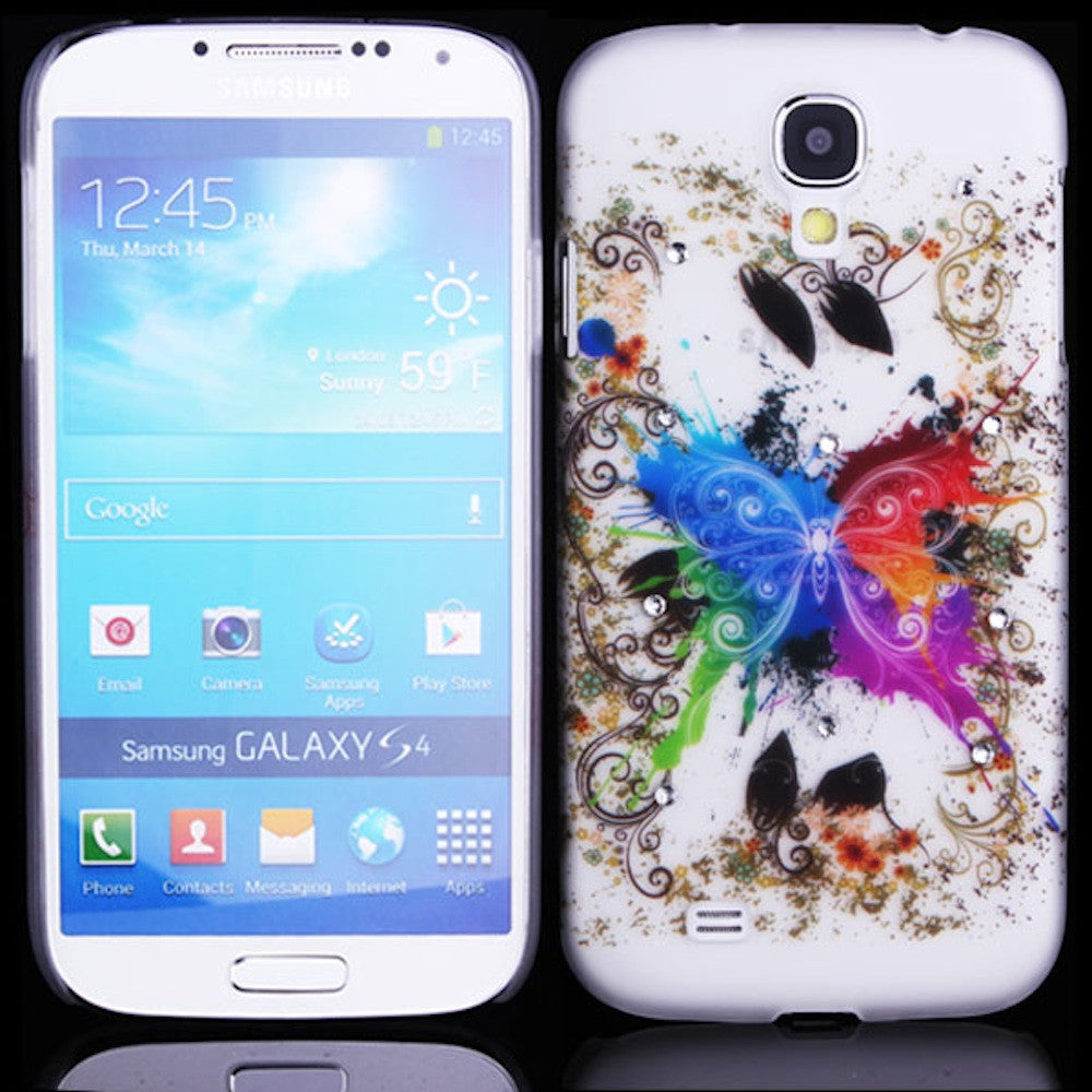 Happy Butterfly Design Hard Back Case Cover for Samsung Galaxy S4 I9500