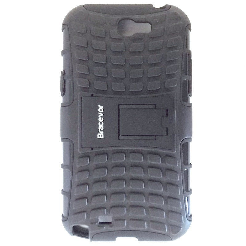Bracevor Rugged Armor Hybrid Kickstand Case for Samsung Galaxy Note 2 - Black