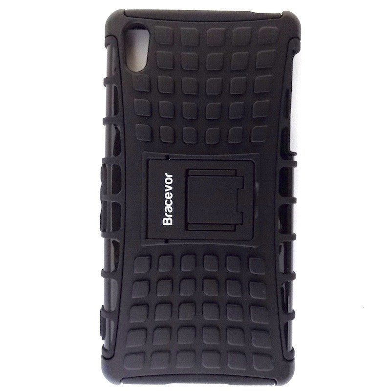 Bracevor Rugged Armor Hybrid Kickstand Case Cover for Sony Xperia Z2 - Black