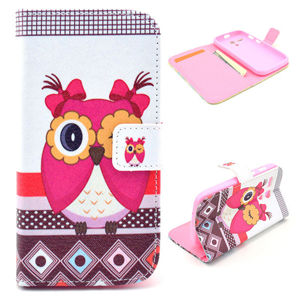 Bracevor Cute Owl Design Wallet Leather Flip case Cover for Motorola Moto G XT1032 XT1033