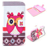 Cute Owl Design Wallet Leather Flip Case for Motorola Moto G