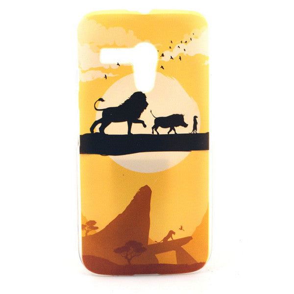 Bracevor Lions Sunset Flexible Gel TPU Case Cover for Motorola G XT1032 1033