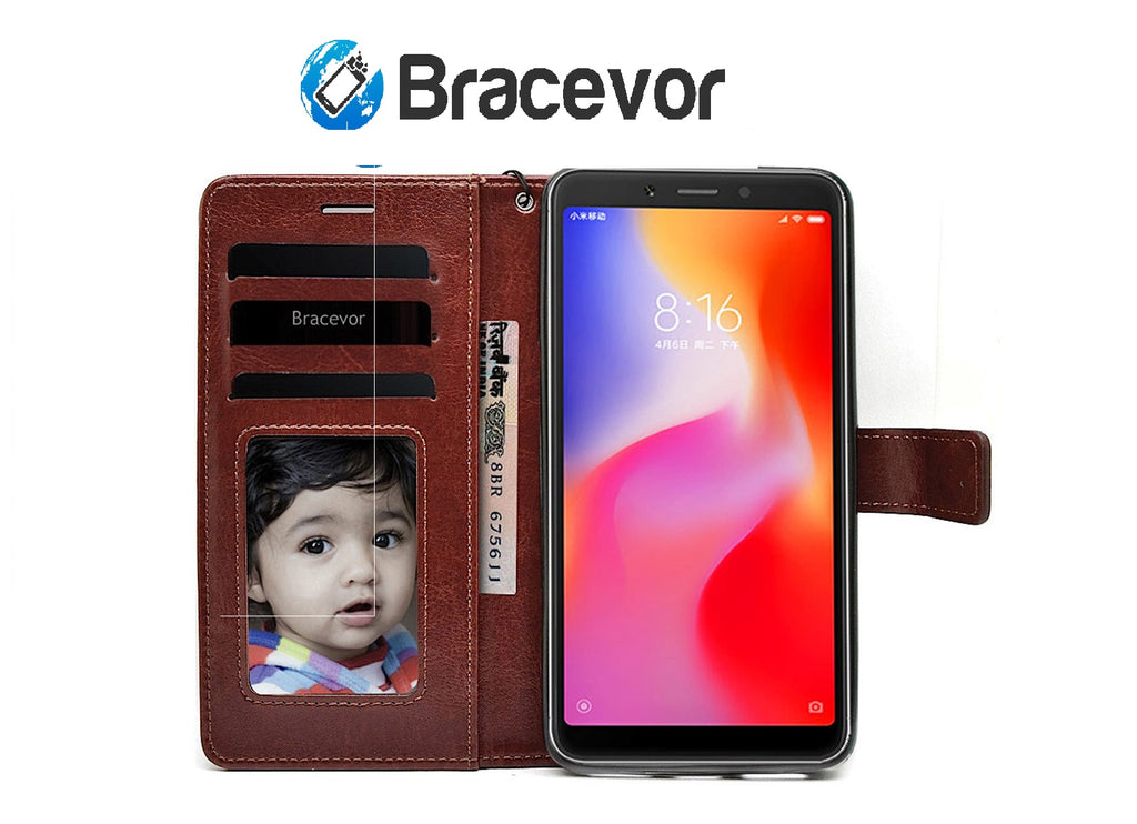 Bracevor Flip Cover Case For Xiaomi Redmi 6A | Premium Leather | Inner TPU | Foldable Stand | Wallet Card Slots - Executive Brown