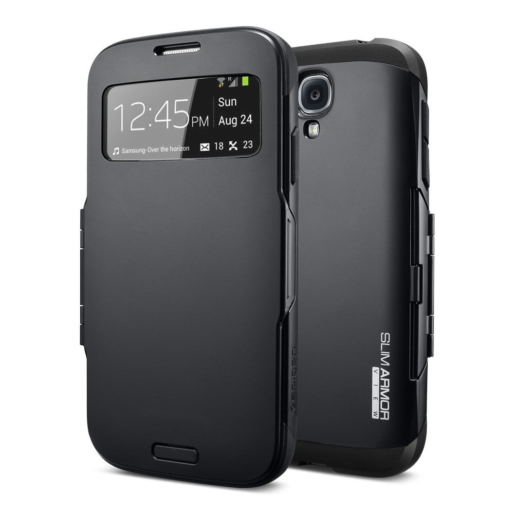 S View Armor Smart Flip Case for Samsung Galaxy S4 i9500 - Black