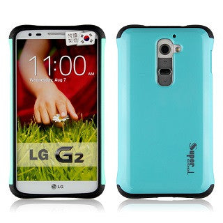 Turquoise Blue Super Hybrid 2 in 1 Back Case for LG G2