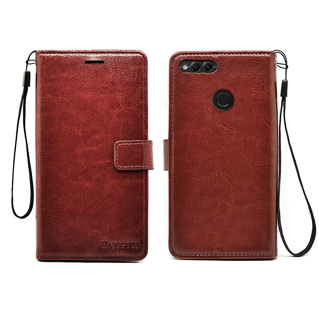Huawei Honor 7X Flip Cover Case : Inner TPU, Premium Leather Wallet Stand - Executive Brown