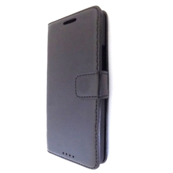Bracevor Deluxe Black Wallet Leather Case Cover for HTC One M7 - Black