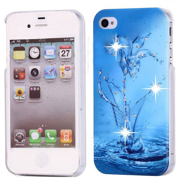 Bling Diamond Azure Flora Design Back Case for Apple iPhone 4 4s