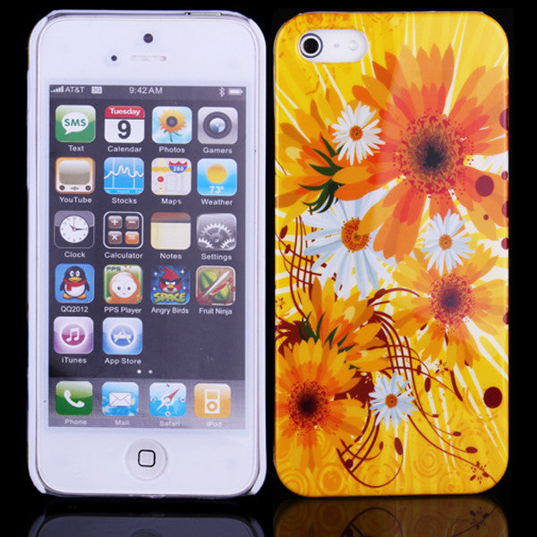 Bright Flowers Design Back Hard Cover Skin for Apple iPhone 5 5s (Yellow)